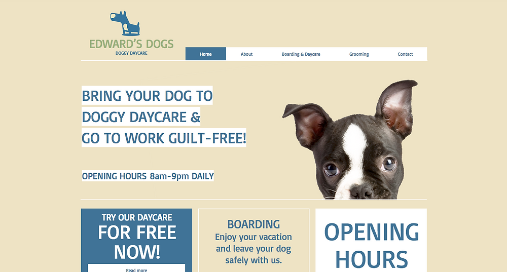 Doggy Day Care Wix Template Desktop