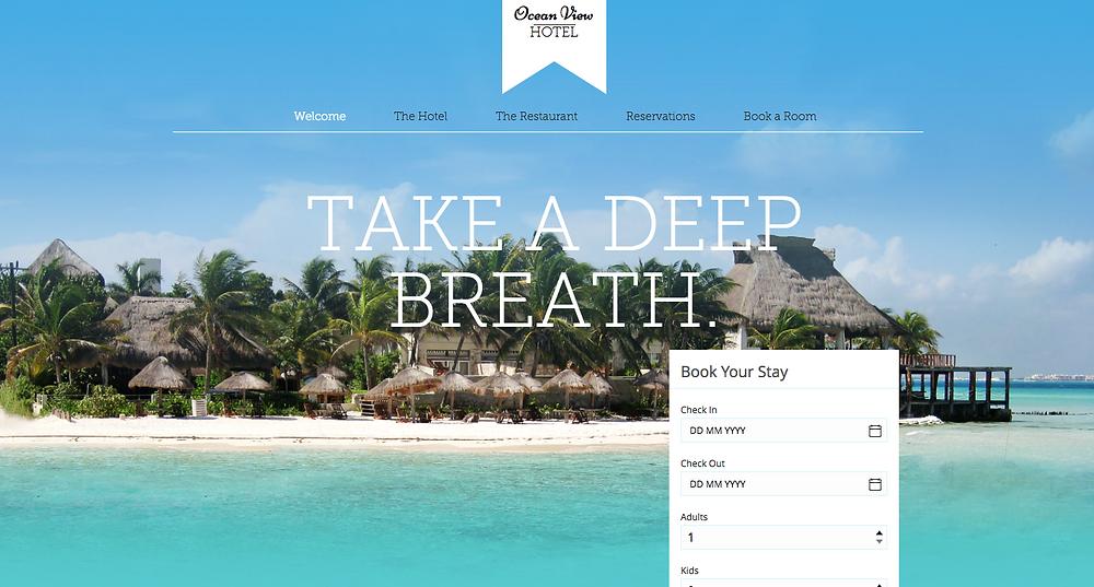Ocean View Hotel Wix Templates Desktop
