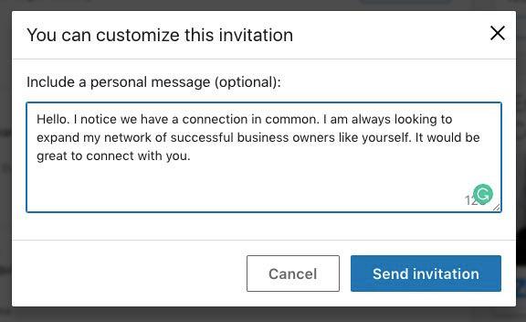 Personal LinkedIn Message