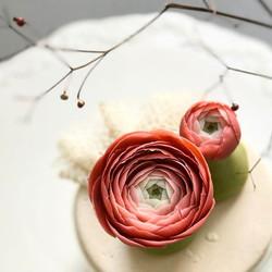 Handmade bean paste craft flower _#ranunculus #pinkflowers #edibles #beanpasteflower #sugarflower #c