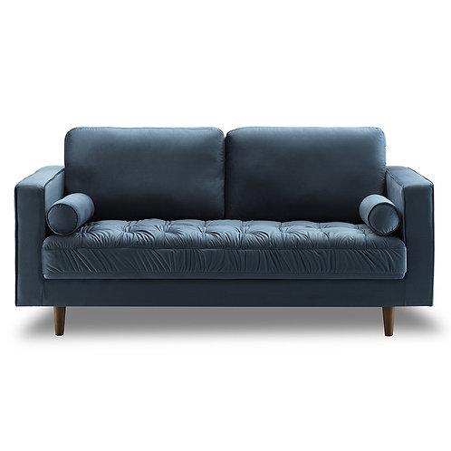 Bente Tufted Velvet Loveseat 2-Seater Sofa - Light Blue
