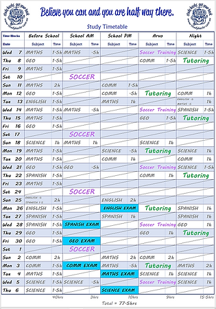 Study timetable planner year 7 8 9 10