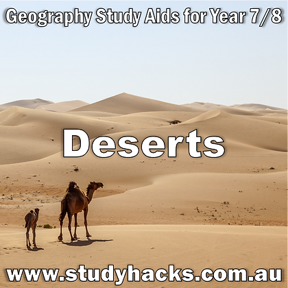 Year 7/8 Geography Study Notes Deserts Types Causes Hot Cold Landforms Ecosystems exam test past papers yearlys assessments