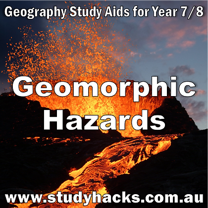 Year 7/8 Geography Study Notes Geomorphic Hazards earthquakes tsunami volcanoes exam test quiz past papers yearlys assessment