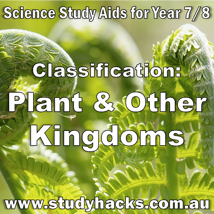 Year 7/8 Science Study Notes Classification Plant Fungi Protista Monera Kingdom exam test quiz past papers yearlys