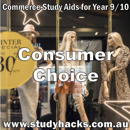 Commerce Study Notes Consumer Choice Protection Payment Records exam test past papers half yearlys Year 7 8 9 10 Australia