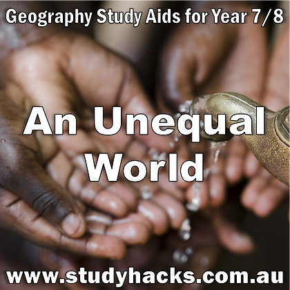 Year 7/8 Geography Study Notes An Unequal World UN Healthcare Education access exam test quiz past papers half yearlys