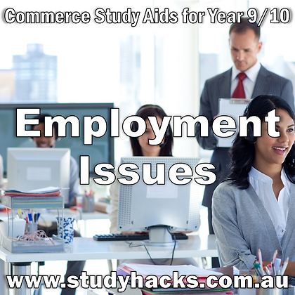 Commerce Study Notes Employment Issues Types Industry Disputes Trade Unions exam test quiz past papers Year 7 8 9 10 yearlys