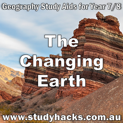 Year 7/8 Geography Study Notes Changing Earth Continental Plates Rock Cycle Mountian Building exam test past papers yearlys