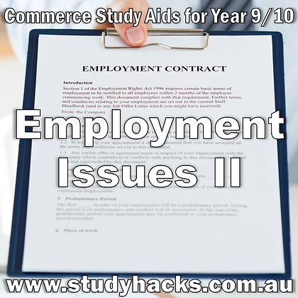 Commerce Study Notes Employment Issues Entitlements Discrimination Contracts exam test quiz past paper yearlys Year 7 8 9 10