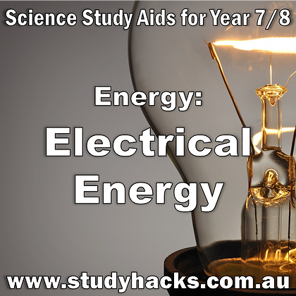 Year 7/8 Science Study Notes Electrical Energy Types Sources Electric Circuit Current exam test quiz past papers yearlys