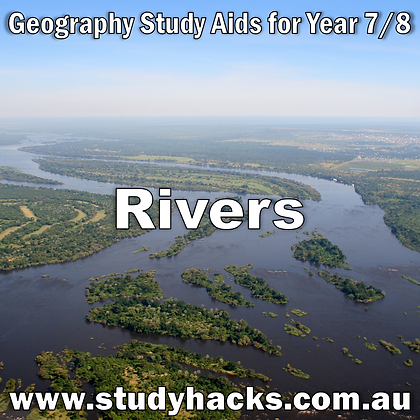 Year 7/8 Geography Study Notes Rivers Riverine Landforms Wetlands exam test quiz past papers half yearlys assessments