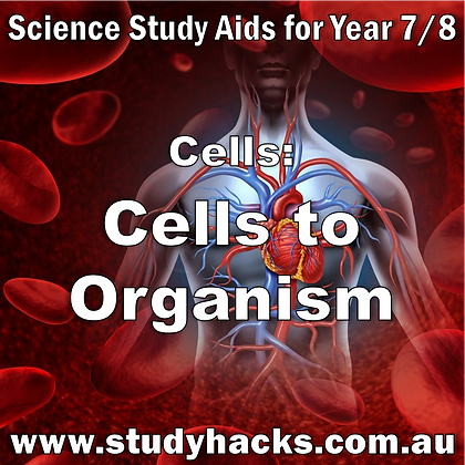 Year 7/8 Science Study Notes Cells to Organism Tissues Organs exam test quiz past papers half yearlys