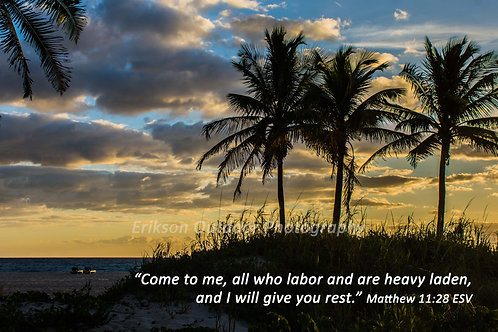 Matthew 11:28 | English or Spanish | Cards | Prints | Display Boxes