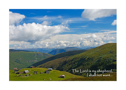 Psalm 23:1&2, Mountain Farm, Cards and Prints