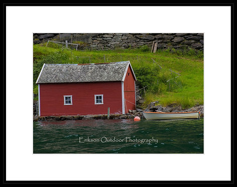 Signed print with matte and optional frame / Boathouse on Aurlandsfjorden