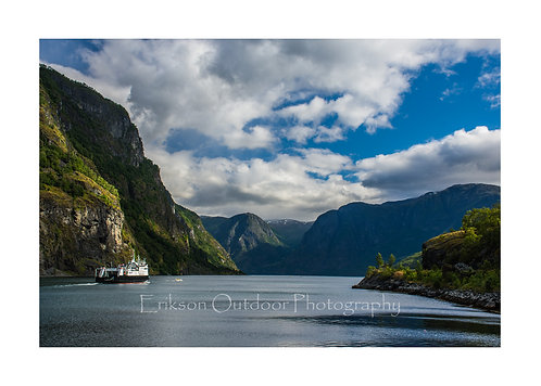Aurlandsfjorden and a Ferry, Aurland, Norway, Cards and Prints