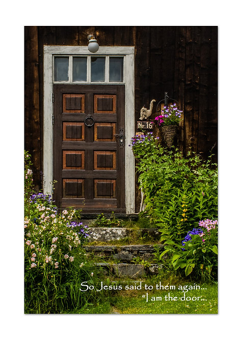 John 4:9a, Door & Flowers, Cards and Prints