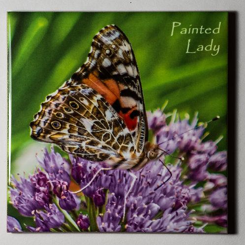 Ceramic Coaster or Trivet - Painted Lady On Millenium Allium - profile
