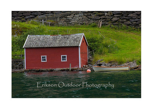 Boathouse On Aurlandsfjorden, Aurland, Norway, Cards and Prints