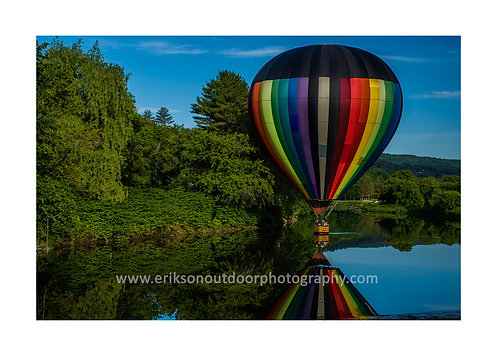 Hot air balloon on the Ottoquechee River, Hartford, VT, Cards and Prints
