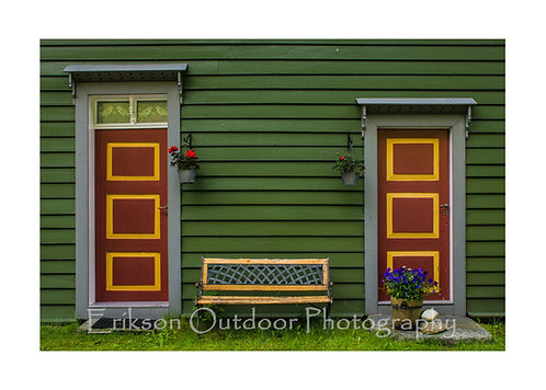 Doors and a Bench, Undredal, Norway, Cards and Prints