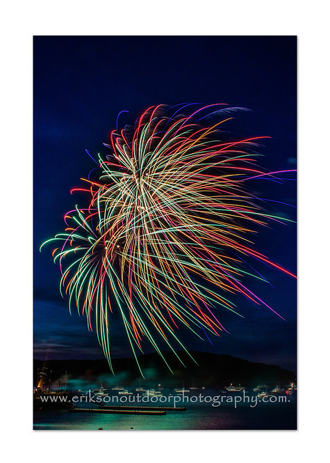 Fourth of July Fireworks, Bar Harbor, ME, Cards and Prints