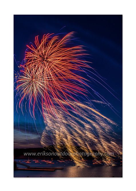"""July 4th Fireworks """"Lion in the Sky"""", Bar Harbor, ME, Cards and Prints"""