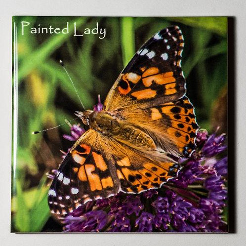 Ceramic Coaster or Trivet - Painted Lady On Millenium Allium