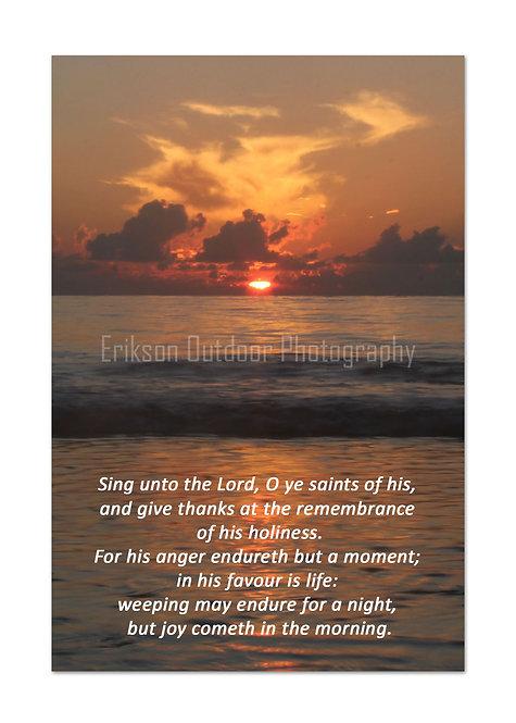 Scripture greeting card KJV, Psalm 30:4&5