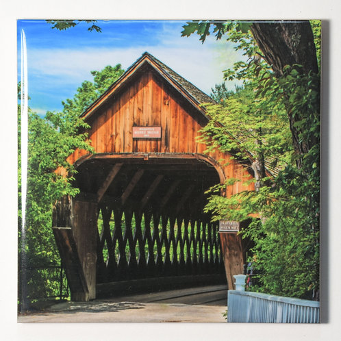 Ceramic Coaster or Trivet - Middle Bridge, Woodstock,Vermont