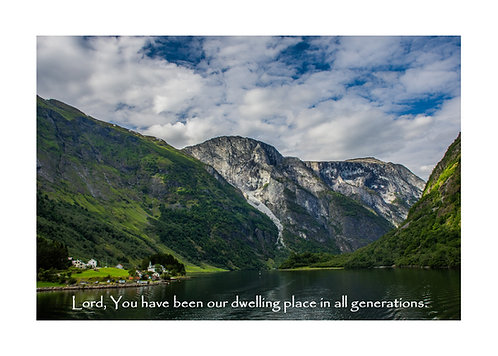 Psalm 90:1, Village in a Fjord, Cards and Prints