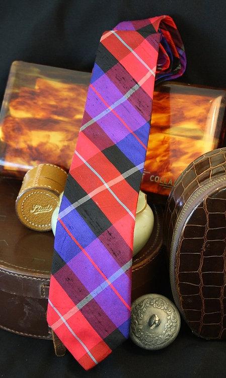 Pink & Blue Plaid - Silk Tie