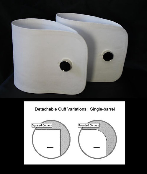 Starched Single Barrel Cuffs - Pique Cotton