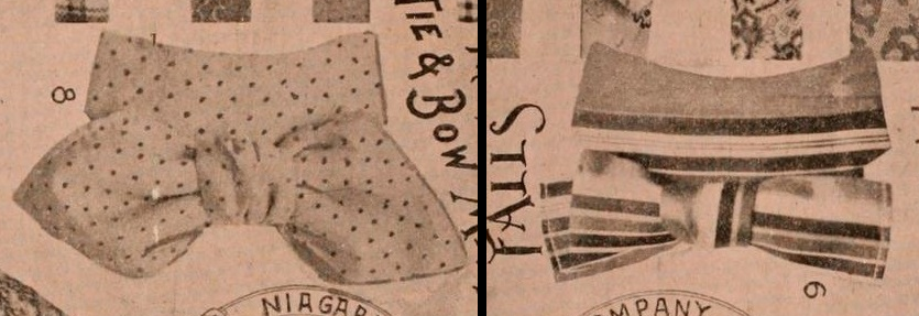 """Two Shield Bows with """"stock effect"""". Dry Goods Review, 1897."""