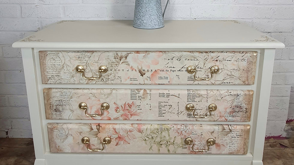 Cream/Floral Chest of Drawers