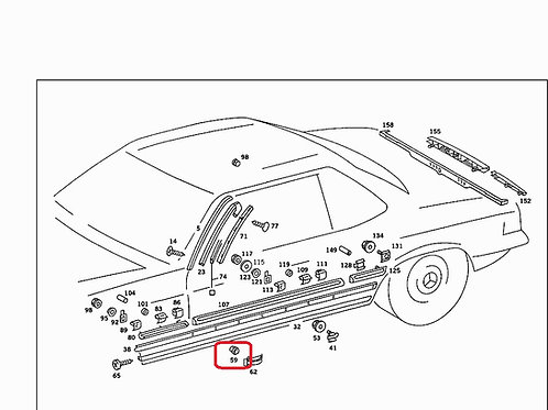 Mercedes W107 Sill Tray Chrome mounting grommet- 000 988 76 81, 00098876