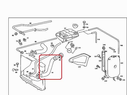 Mercedes W126 380 & 500 Lower Radiator Hose Pt No: - 126 501 14 82, 1265011482