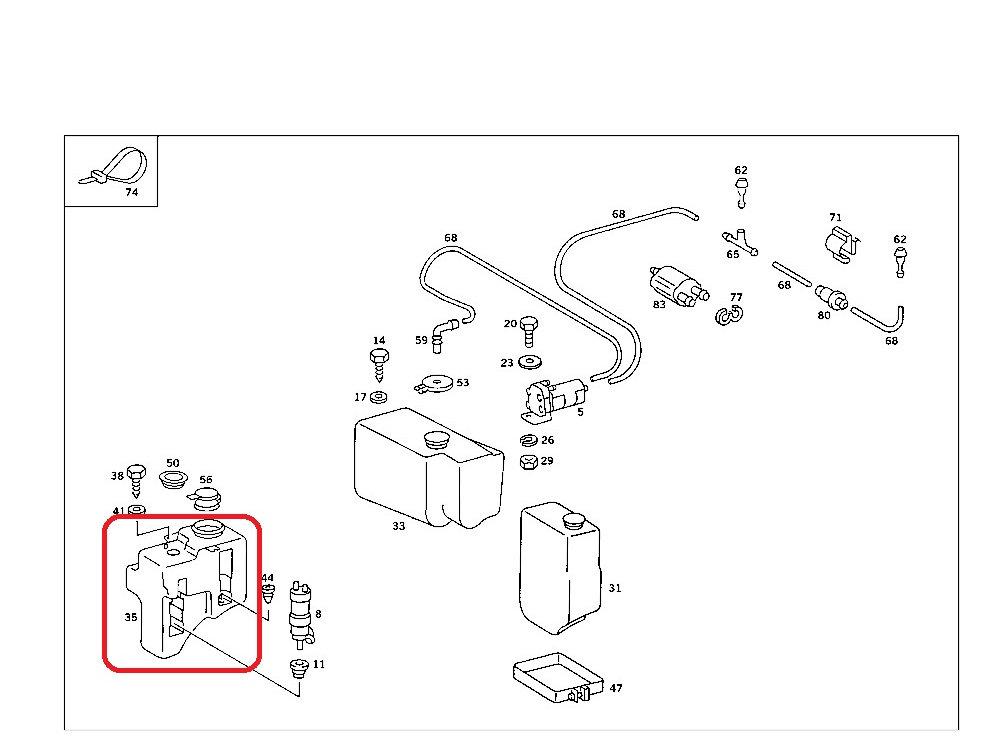 mercedes w107 late screen washer reservoir