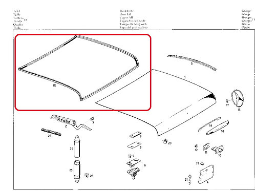 Mercedes W111 - W112 Cabriolet Boot Rubber seal rep - 111 750 80 77, 1117508077