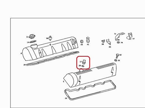 Mercedes M116 & M117 Breather pipe fitting - 116 997 06 72, 1169970672