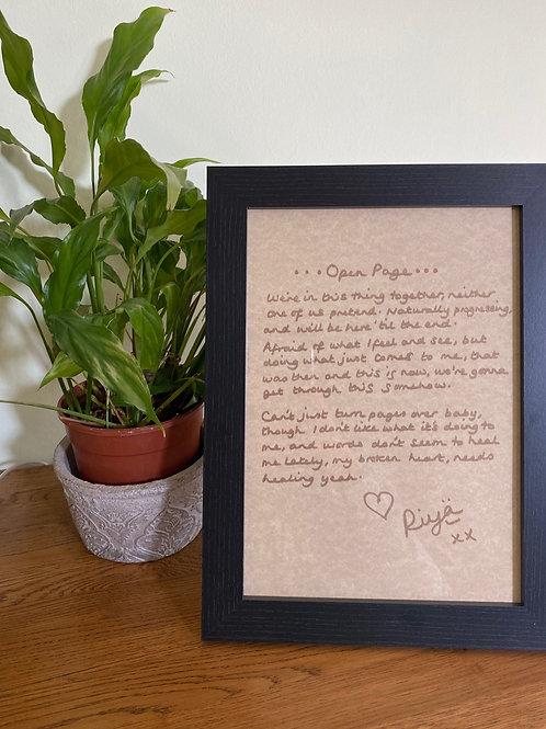 Framed handwritten lyrics