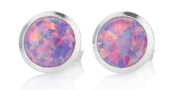 Purple Opal and Silver Stud Earrings - 5mm