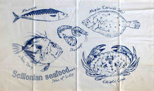 Scillonian fish tea towel