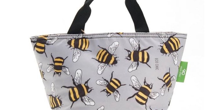 EcoChic Foldable Lunch Bag - Bees Grey