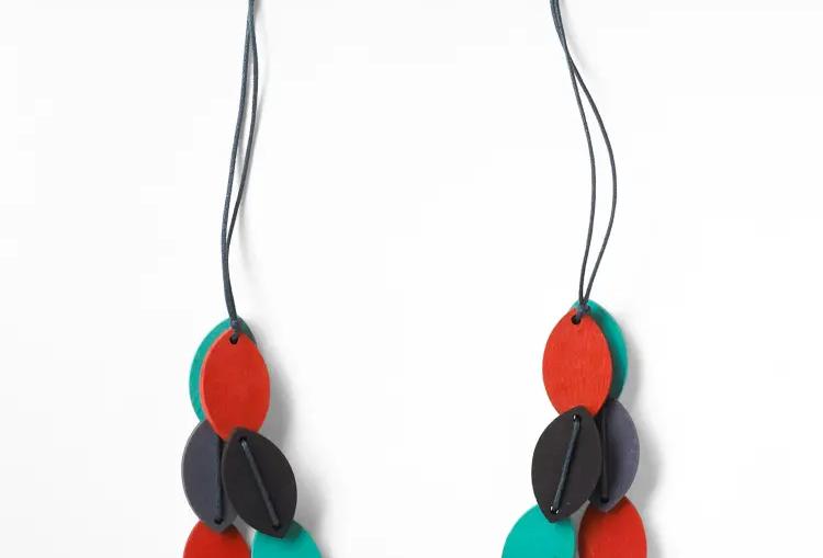 Multi Wood Petal Necklace