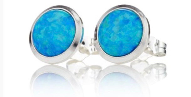 Blue Opal and Silver Stud Earrings - 8mm