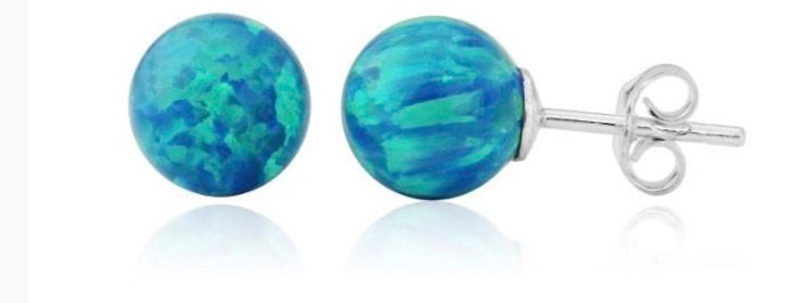 Aqua Opal Bead Stud Earrings - 6mm