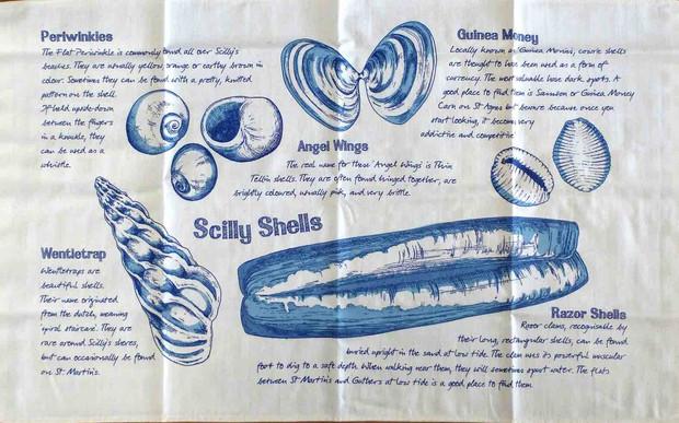 Scilly shells tea towel