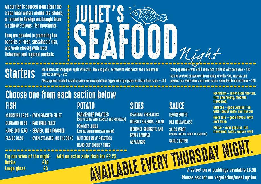 Seafood Night Juliets Garden Restaurant.